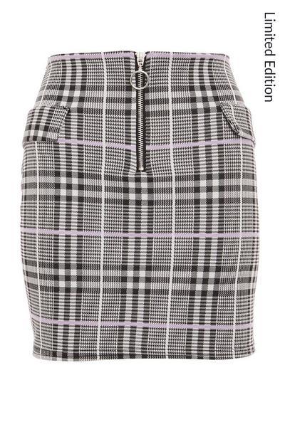Lilac Zip Front Mini Skirt